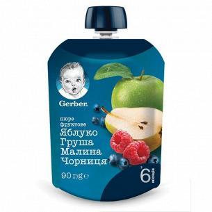 Пюре Гербер ябл груш мал черн дет 6 мес вита 90г
