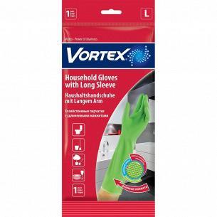 Перчатки хозяйственные Vortex удлин.манжеты L