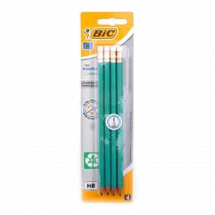 Набор карандашей BIC Evolution чернографитных с ластиком 4 шт.
