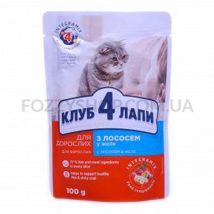 Корм для котов Club 4 Paws с лососем в желе