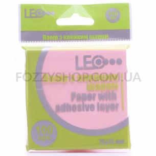 Бумага Leo липкий слой роз 75х75мм 100лис L1201-07