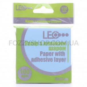 Бумага Leo липкий слой син 75х75мм 100лис L1201-04