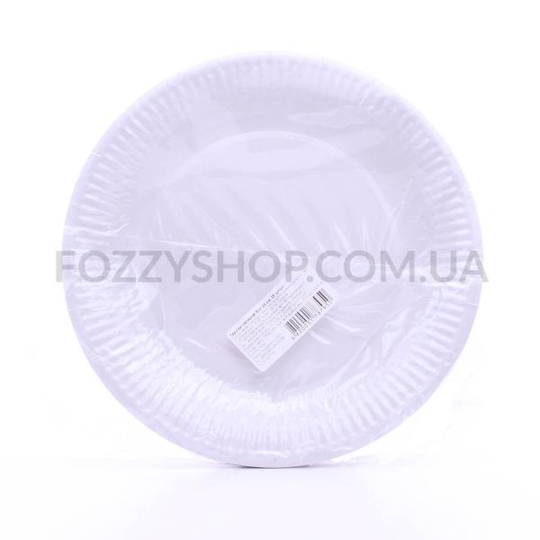 Тарелки бумажные белые 23см