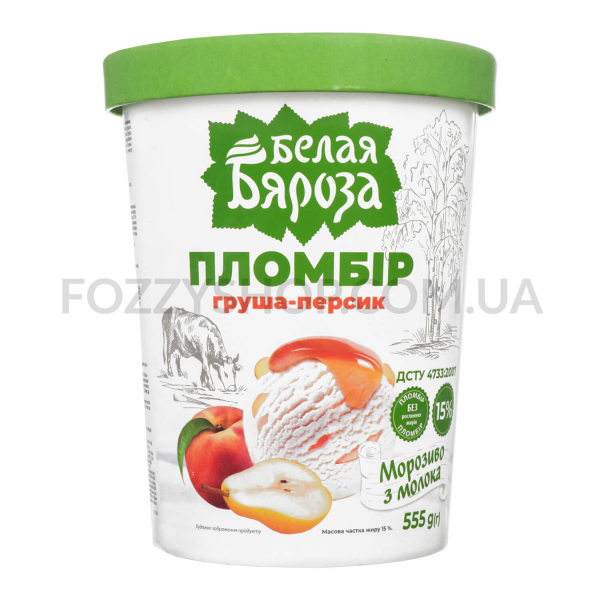 Мороженое Белая Бяроза пломбир подвар груша-персик