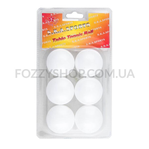 Мячи д/настольного тенниса 6шт D-01