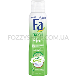Дезодорант-спрей Fa Fresh&Free с Магний комплексом Аромат Лайм-Кокос 150 мл
