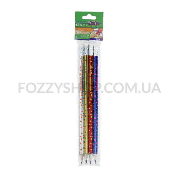 Набор карандашей ZiBi Stars с резинкой 4шт