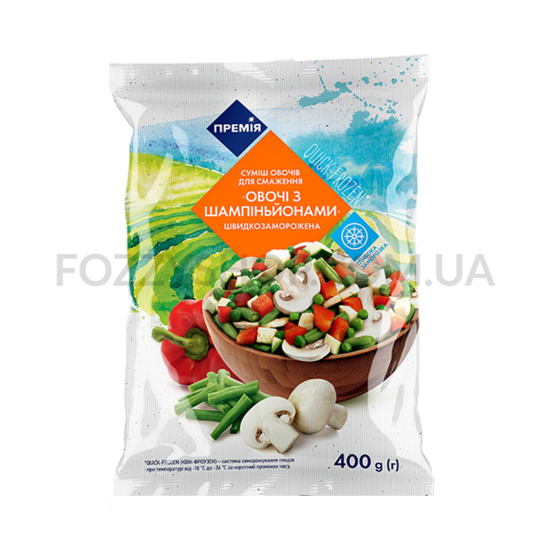 Смесь овощей Премія замороженная Овощи с шампиньйонами