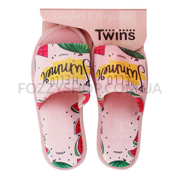 Тапки женские Twins Standart велюр персиковые р.36-37