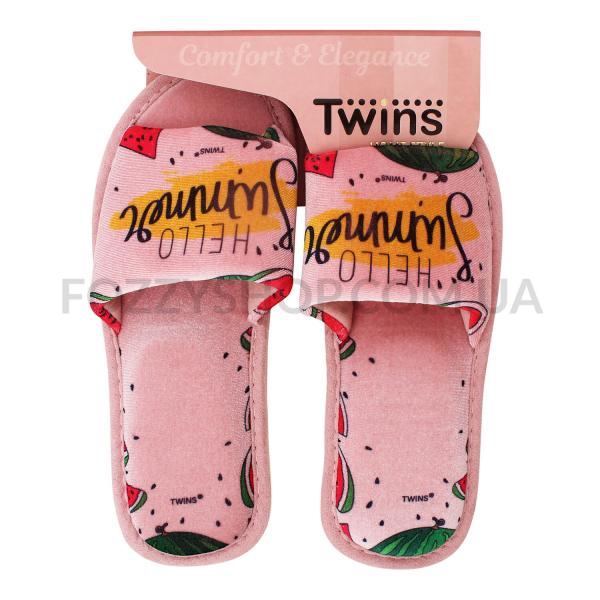 Тапки женские Twins Standart велюр персиковые р.38-39