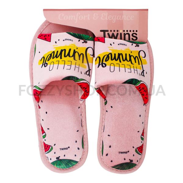 Тапки женские Twins Standart велюр персиковые р.40