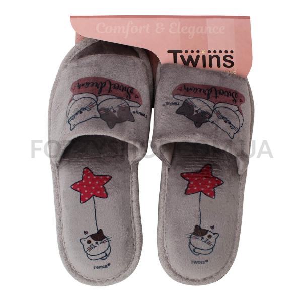 Тапки женские Twins Standart велюр серые р.36-37