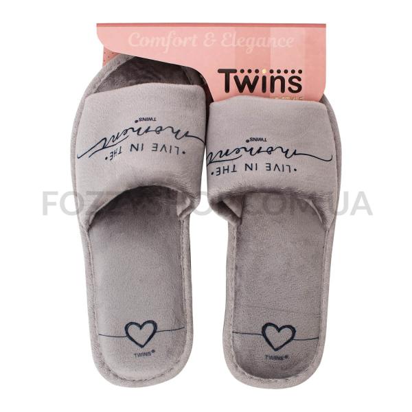 Тапки женские Twins Standart велюр серые р.38-39