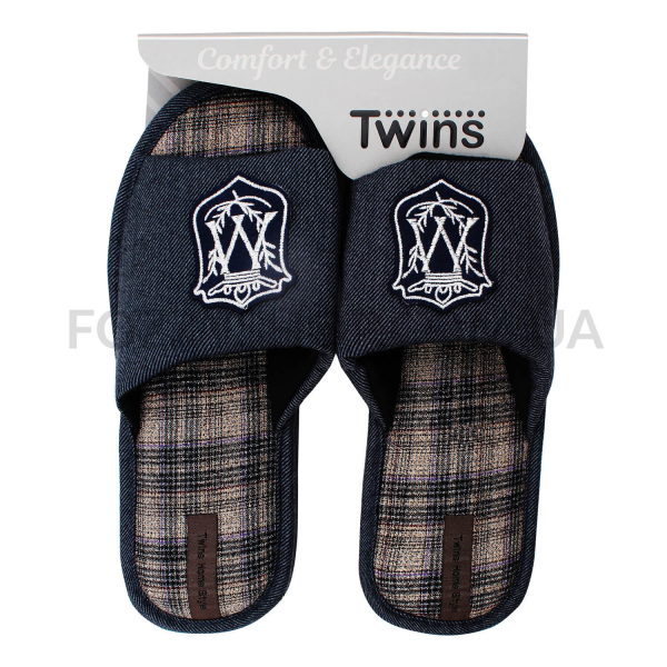 Тапки мужские Twins HS-VL герб серые р.42-43