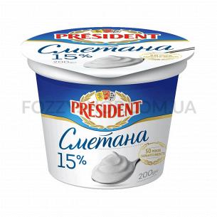 Сметана President 15%