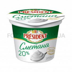 Сметана President 20%