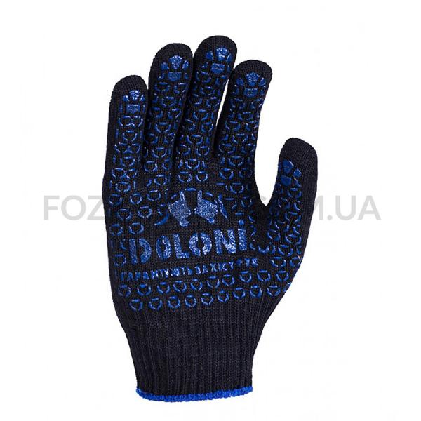 Перчатки Doloni Универсал трикотажные черные ПВХ точки