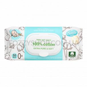 Салфетки влажные Smile baby 100% cotton