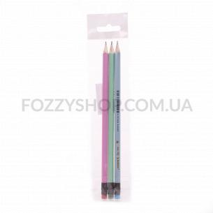 Набір олівців Norma графітовий HB з гумкою 3шт 400