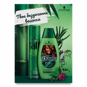 Набір Schauma & Taft: шампунь 7 трав 400мл + лак для волосся True volume 250мл
