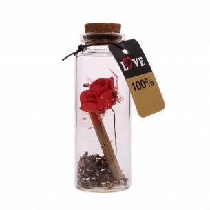 Сувенир Бутылка для пожеланий с цветком