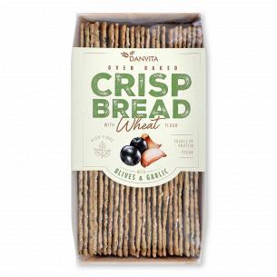 Хлебцы Danvita хрустящие пшеничные с оливками-чесноком