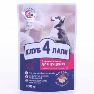 Корм для щенков Club 4 Paws с курицей в желе