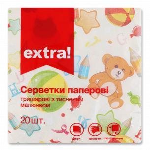 Салфетки бумажные Extra! 33х33см 3 слоя дизайн 3