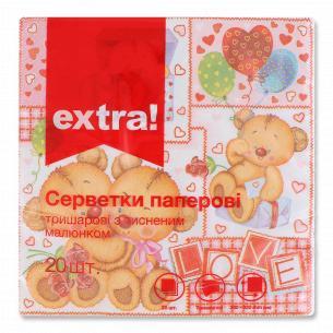 Салфетки бумажные Extra! 33х33см 3 слоя дизайн 4