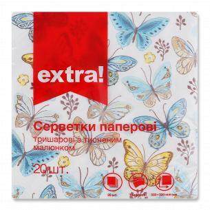 Салфетки бумажные Extra! 33х33см 3 слоя дизайн 5