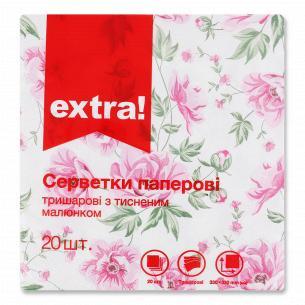 Салфетки бумажные Extra! 33х33см 3 слоя дизайн 6