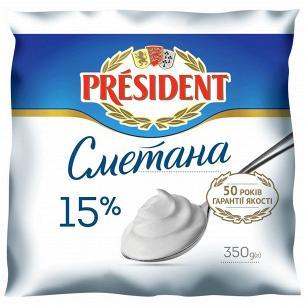 Сметана President 15% п/е