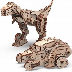 Конструктор Mr.Playwood Трансформер Динокар 3D