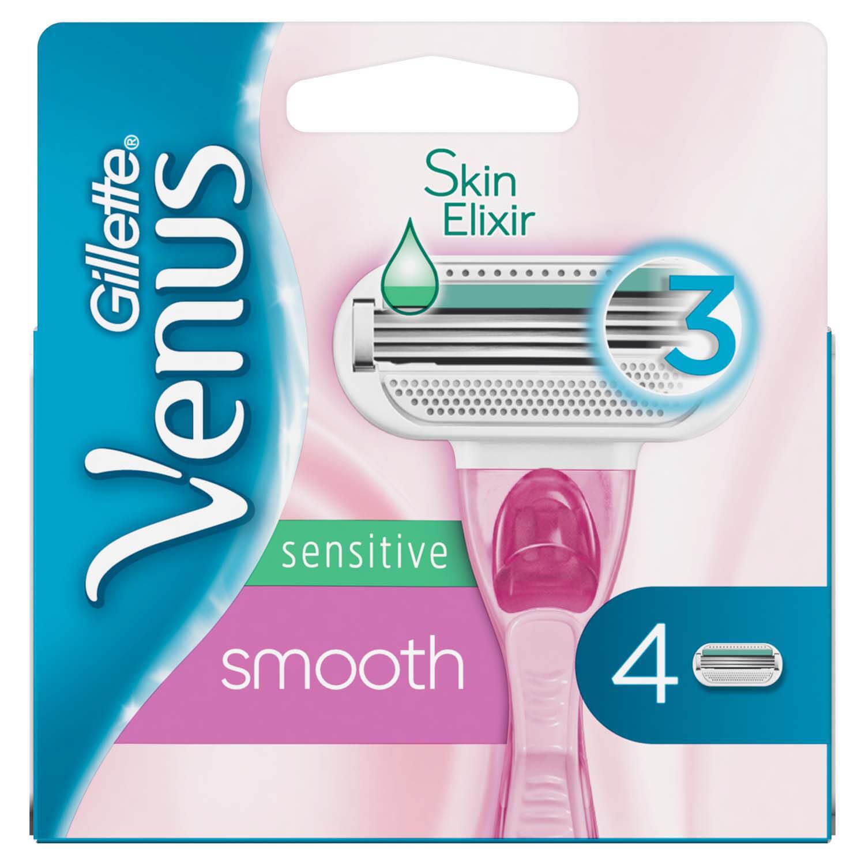 Сменные картриджи для бритья (Лезвия) женские Venus Smooth Sensitive 4 шт