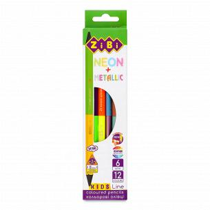 Карандаши ZiBi Kids Line Neon+Metallic двухсторонние 6 цветов