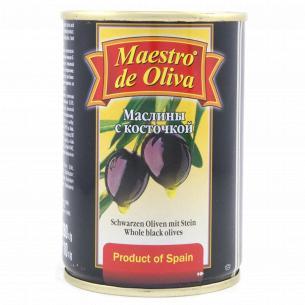Маслины Maestro de Oliva черные с косточкой