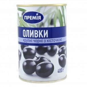 """Оливки """"Премія"""" черные с косточкой крупные пастеризованные"""