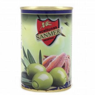 Оливки Sanmer зеленые начиненные пастой из анчоусов