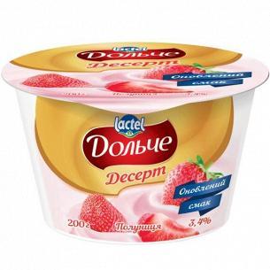 Десерт творожный Дольче клубника 3,4% стакан