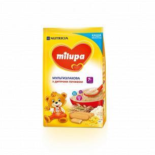 Каша молочна суха швидкорозчинна мультизлакова з дитячим печивом Milupa для дітей від 7-ми місяців