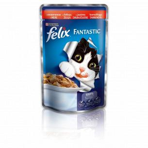 Корм для котов Felix Fantastic с говядиной в желе