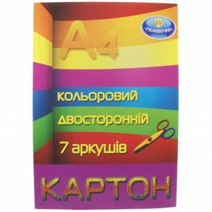 Картон цветной Тетрада Меловка А4 двухсторонний