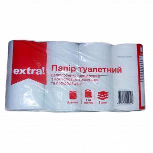 Бумага туалетная Extra! с цветным тиснением белая 3-слойные