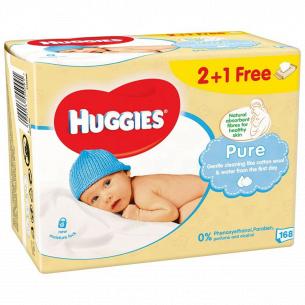 Салфетки детские Huggies Pure 2+1