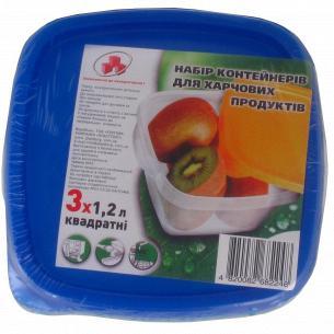 Набор контейнеров для продуктов Пластторг квадратная форма3*1,2л
