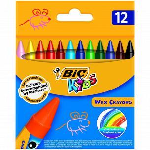 Восковые мелки BIC Wax Crayons 12 цветов