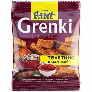 Гренки Flint ржаные со вкусом телятины с аджикой
