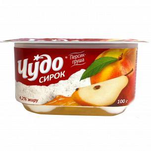 Творожок Чудо взбитый персик-груша 4,2% стакан