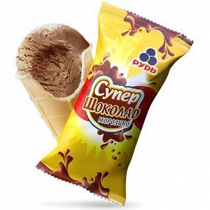 Мороженое Рудь супер шоколад вафельный стаканчик
