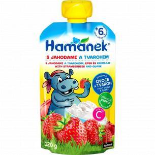 Пюре Hamanek с яблоком-клубникой и сыром